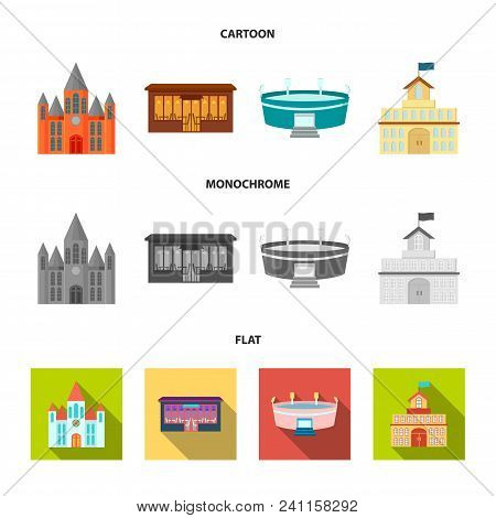House Of Government, Stadium, Cafe, Church.building Set Collection Icons In Cartoon, Flat, Monochrom