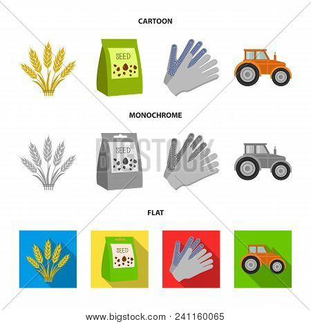 Spikelets Of Wheat, A Packet Of Seeds, A Tractor, Gloves.farm Set Collection Icons In Cartoon, Flat,