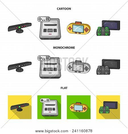 Game And Tv Set-top Box Cartoon, Flat, Monochrome Icons In Set Collection For Design.game Gadgets Ve