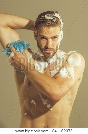 Morning Washing, Everyday Life. Spa, Hygiene, Relax. Man Washed In Shower. Handsome Sexy Muscular Ma