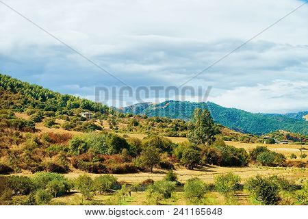 Landscape With Hills And Highland In Posada, Nuoro Province, Sardinia, Italy