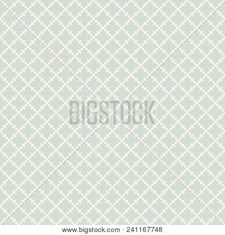 Retro Vintage Seamless Pattern. Abstract Vector Texture With Curved Geometric Shapes, Crosses, Grid,