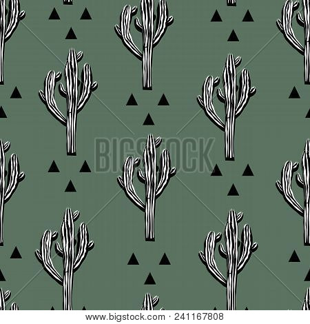 Cactus Seamless Vector Pattern With Saguaro And Abstract Triangless. Cacti Fabric Print Design. Succ