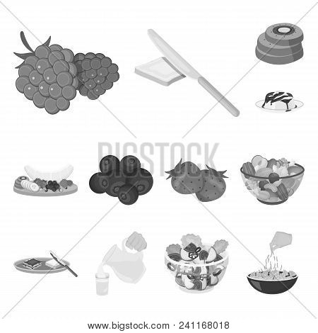 Dessert Fragrant Monochrome Icons In Set Collection For Design. Food And Sweetness Vector Symbol Sto