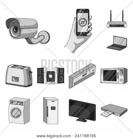 Smart Home Appliances Monochrome Icons In Set Collection For Design. Modern Household Appliances Vec