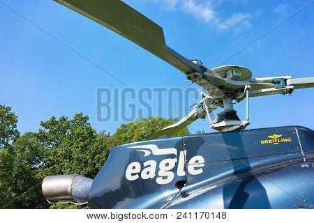 Bourg-en-lavaux, Switzerland - August 30, 2016: Helicopter Propeller In Lavaux, Lavaux-oron District