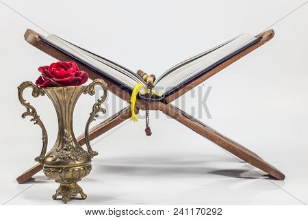 Religious Motives, Holy Book, Quran-holy Book Muslims, Holy Month Ramadan, Studio, Rose In Vase, Pra