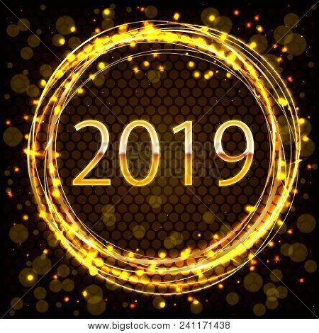 2019 Golden New Year Sign Inside Golden Ring With Golden Glitter On Dark Background. Vector New Year