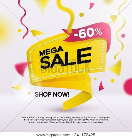 Big Sale Banner For Your Promotion. Limited Offer, Discounts. Yellow Sticker Template With Defocused