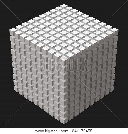 Big Cube With Cubic Cuts. Small Cubes. Suitable For Banner, Ad, Technology And Abstract Themes