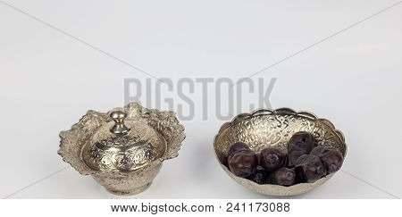 Ramadan Dates Religious Month And Silver Islamic Culture Decoration On White Background With Breakin