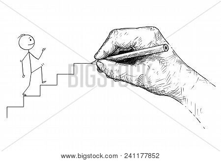 Cartoon Stick Man Drawing Conceptual Illustration Of Businessman Walking Up The Stairs And Big Hand