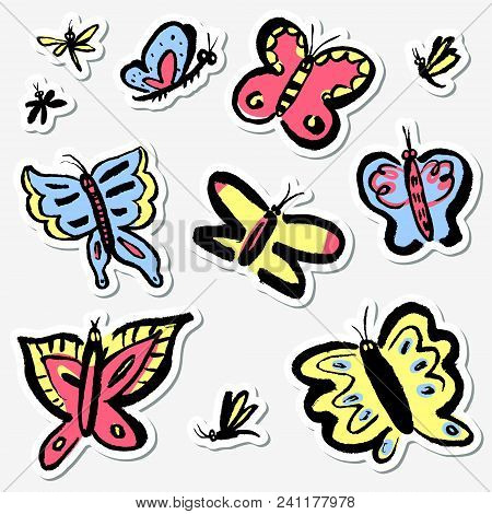 Stickers Set With Cute Butterflies. Collection With Funny Insects In Doodle Sketchy Style. Vector Ar