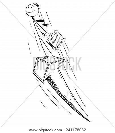 Cartoon Stick Man Drawing Conceptual Illustration Of Businessman Standing On The Growth Arrow Going