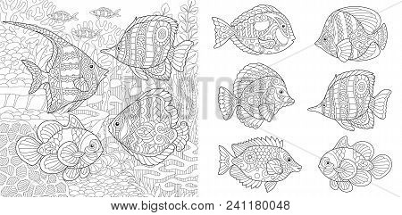 Underwater Ocean World. Shoal Of Tropical Fishes Of Different Species. Coloring Pages. Adult Colorin