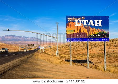 St. George, Utah, Usa - December 29, 2017 : Welcome To Utah State Sign Situated Along Interstate I-1