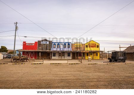 Seligman, Arizona, Usa - January 2, 2018 : Facade Of The Historic Seligman Depot Situated On Route 6
