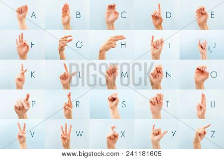 American Sign Language. Alphabet Nonverbal Letter. Isolated On Blue.