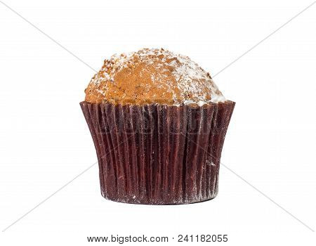 Muffin Chocolate Close-up Isolated On A White Background.