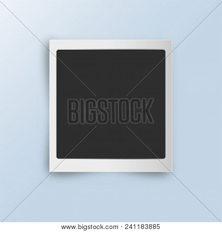 Retro Realistic Vertical Blank Instant Photo Card With Shadow Effect White Plastic Border Isolated O