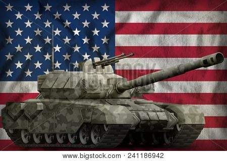 Heavy Tank With City Camouflage On The Usa Flag Background. 3d Illustration