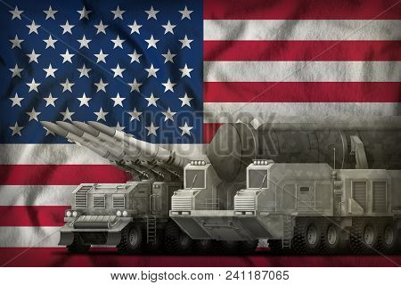 Rocket Forces With City Camouflage On The Usa Flag Background. Usa Rocket Forces Concept. 3d Illustr