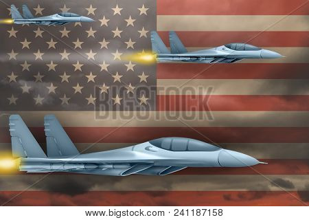 Usa Air Strike Concept. Modern War Airplanes Attack On Usa Flag Background. 3d Illustration
