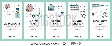 Vector Set Of Vertical Banners With Cardiologist, Mental Health, Urgent Care, Annual Check Up, Pregn
