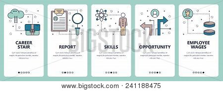 Vector Set Of Vertical Banners With Career Stair, Report, Skills, Opportunity, Employee Wages Websit