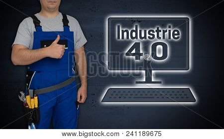 Industry 4.0 and craftsman with thumbs up background artisan poster