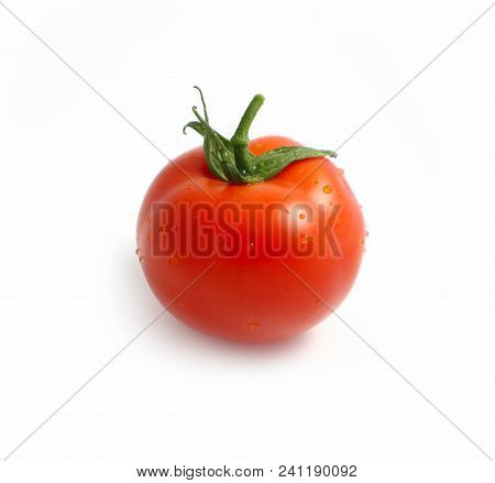 Photo Depicts A Bright Red Color Natural Beautiful Delicious Single Fresh Tomato With Water Drops, I