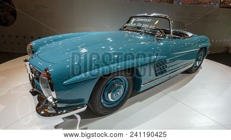 Essen, Germany - Apr 1, 2011: Mercedes-benz 300 Sl Roadster Classic Sports Car On Display At The Ess