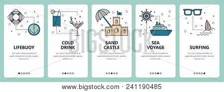 Vector Set Of Vertical Banners With Lifebuoy, Cold Drink, Sand Castle, Sea Voyage, Surfing Website A