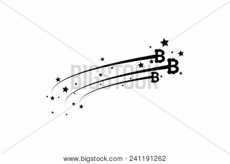Bitcoin Coin With Fast Speed Motion Lines. Abstract Falling Bitcoin- Black Shooting Bitcoin With Ele