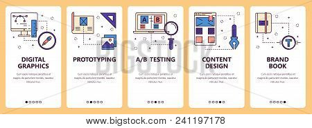 Vector Set Of Vertical Banners With Digital Graphics, Prototyping, Ab Testing, Content Design, Brand