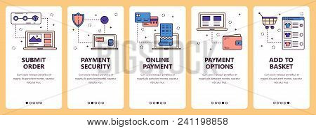 Vector Set Of Vertical Banners With Submit Order, Payment Security, Online Payment, Payment Options,