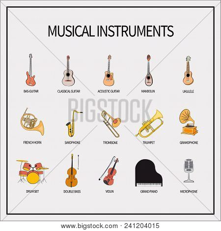 A Set Of Icons With Musical Instruments. Guitars, Winds, Strings, Keyboards, Percussion Instruments