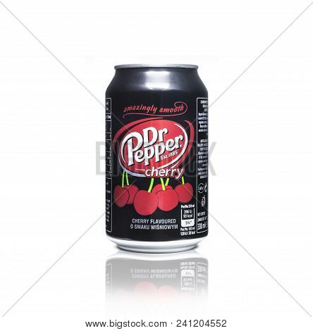 Chisinau, Moldova - May 16, 2018: Closeup Of Aluminum Black Color Can Of Dr Pepper Cherry. Dr. Peppe