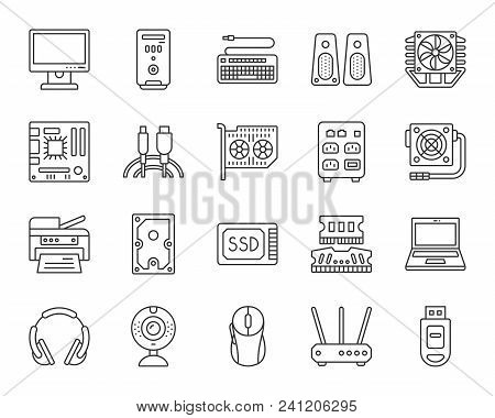 Computer Thin Line Icons Set. Outline Web Sign Kit Of Electronics. Gadget Linear Icon Collection Inc