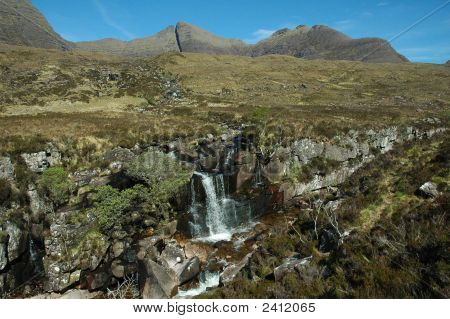 Waterfall Near Beinn Alligin, Scotland.