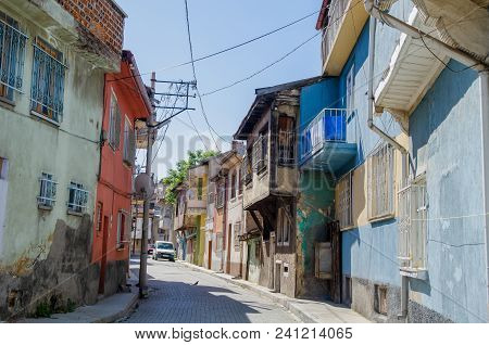Beautiful Old Street In Downtown With Houses With Wooden Shutters In The Classic Turkish Ottoman Sty