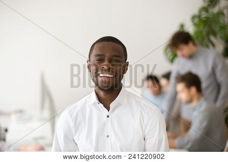 Happy African American Professional Smiling Looking At Camera With Colleagues At Background, Friendl