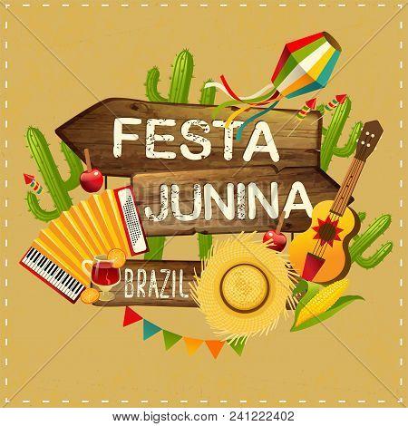 Festa Junina Illustration Traditional Brazil June Festival Party. Vector Illustration Latin American