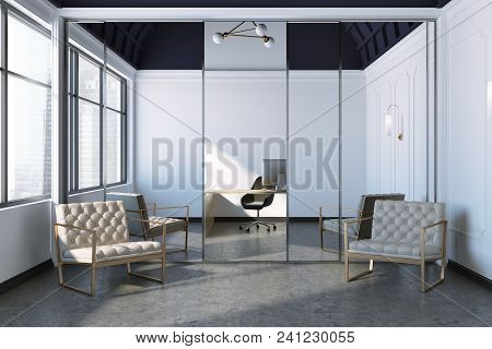 Modern Office Interior With Two Beige Armchairs Standing Near The Mirror. Large Windows. Office Inte