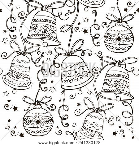 Hand Drawn Ornament With Christmas Bells For The Anti Stress Coloring Page. Vector Ornament With Chr