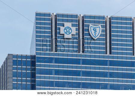 Chicago - Circa May 2018: Blue Cross Blue Shield Headquarters Signage And Logo. Blue Cross Blue Shie