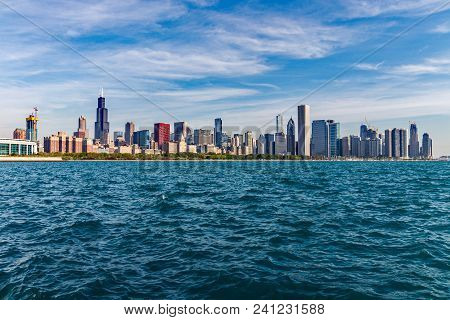 Chicago - Circa May 2018: Windy City Downtown Skyline From Lake Michigan On A Sunny Day. Chicago Is