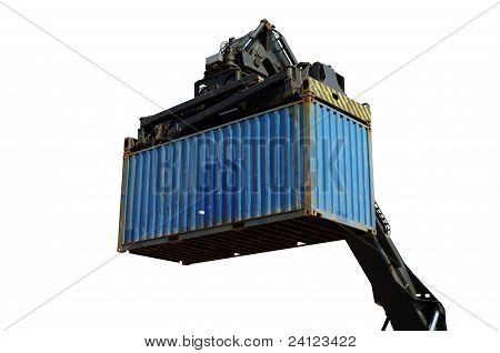 Container forklift in port closeup