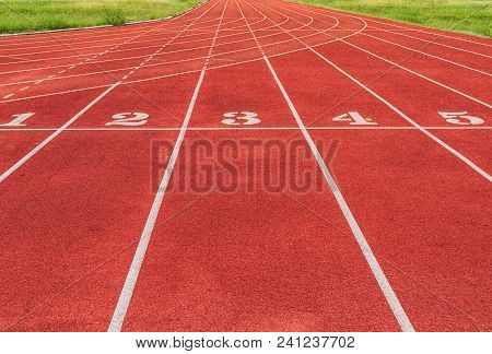 Athlete Track Or Running Track With Numbers