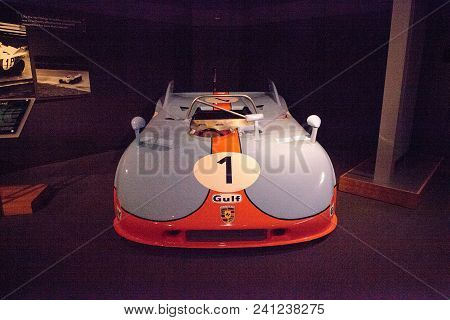 Naples, Florida, Usa - May 5, 2018:  Blue And Orange 1971 Porsche 908/3 Prototype Displayed At The R